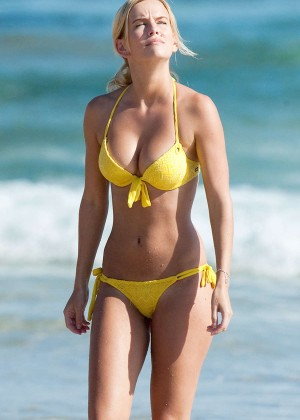 Jade Albany in Yellow Bikini in Australia