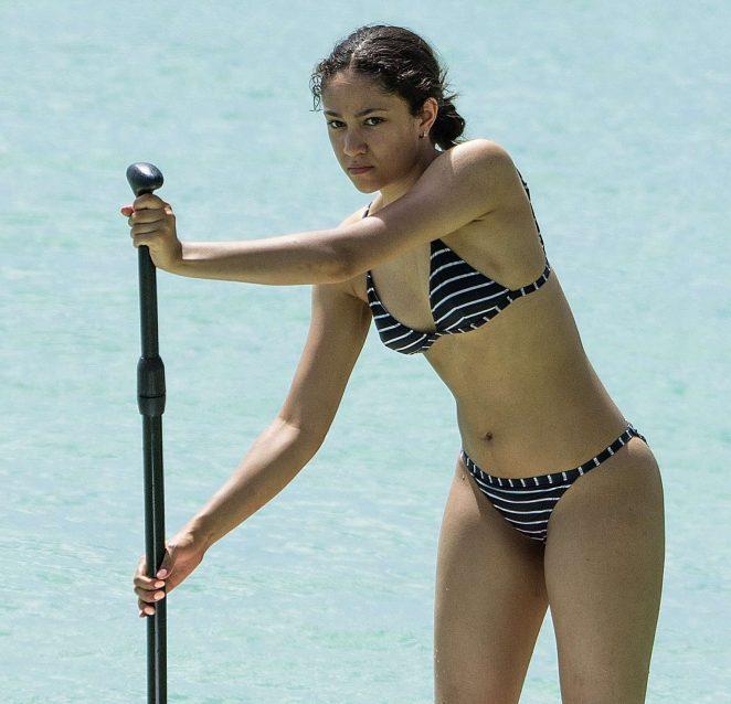 Jade Alleyne in Bikini Paddleboarding in Barbados