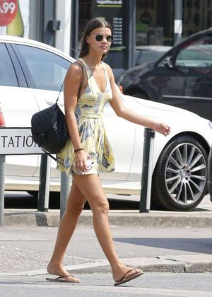 Jade Lewis in Short Dress Leaves Nandos in Essex
