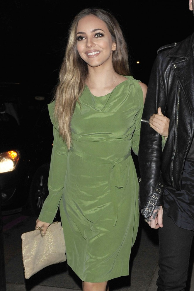 Jade Thirlwall in Green Dress - Night out in London