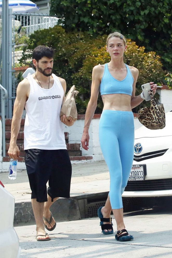 Jaime King in Blue Tights and Sports Bra - Out in Los Angeles