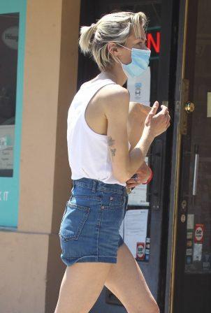 Jaime King in Denim Shorts - Leaving the store in Beverly Hills