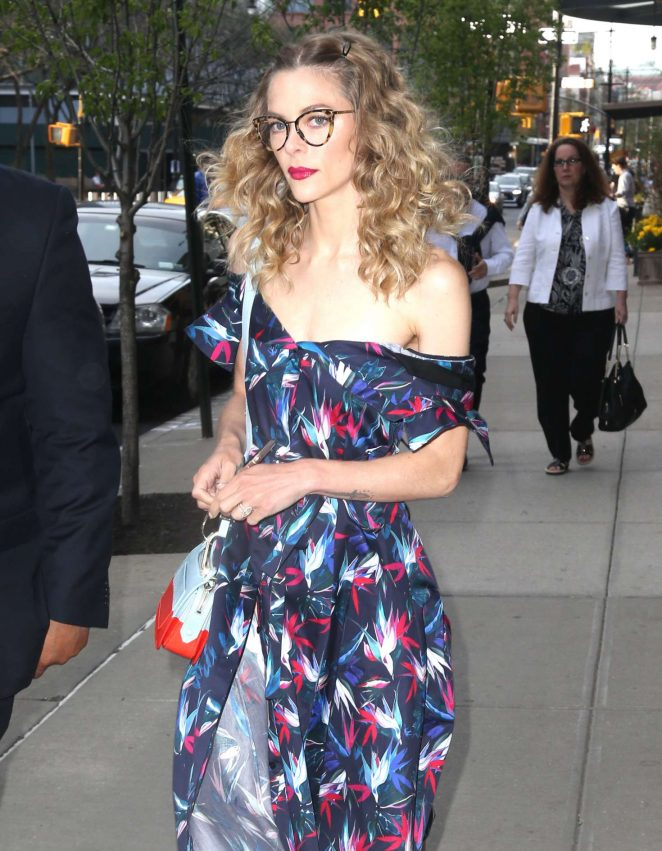 Jaime King in Print Dress out in New York