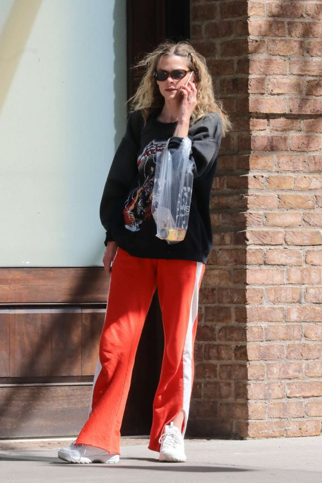 Jaime King in Red Sweats - Out in New York City