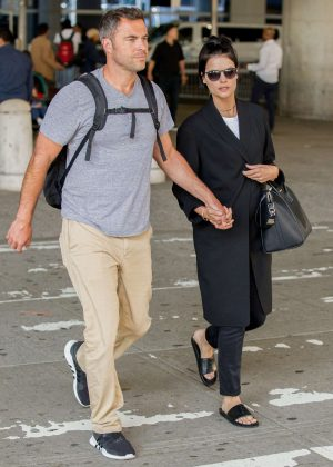 Jaimie Alexander and Airon Armstrong at JFK Airport in NYC