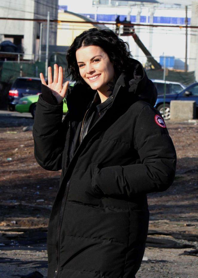 Jaimie Alexander - On the set of 'Blindspot' in Brooklyn