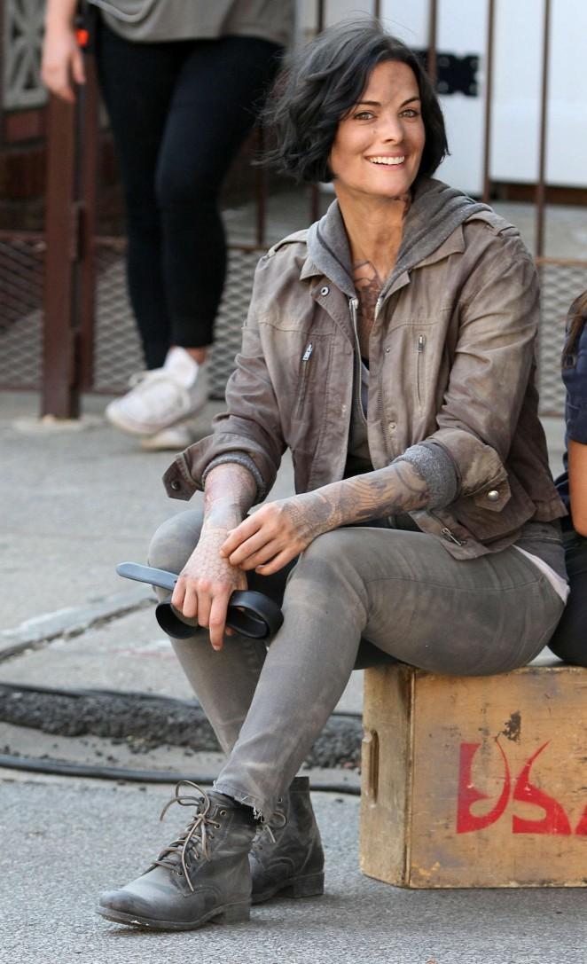Jaimie Alexander on the set of 'Blindspot' in New York City