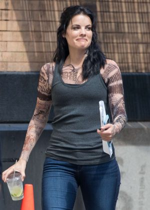 Jaimie Alexander - On the set of 'Blindspot' in New York