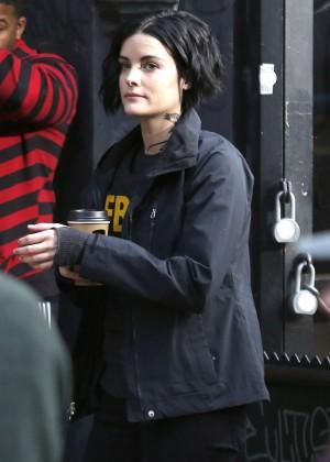 Jaimie Alexander on the set of 'Blindspot' in NY