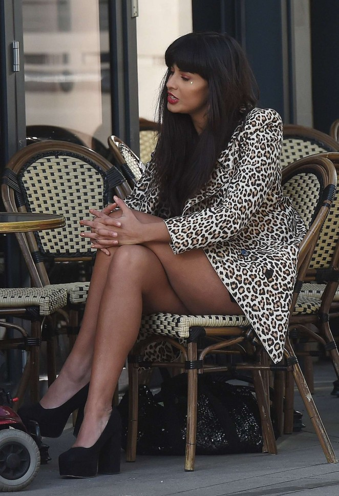 Jameela Jamil in Mini Dress out in London