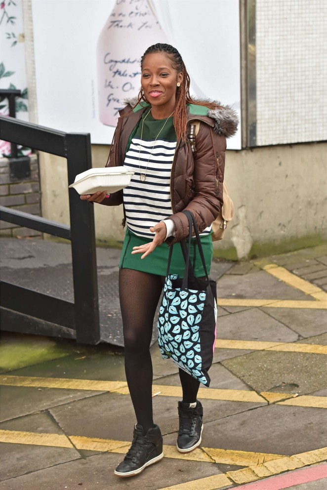 Jamelia in Short Dress Outside the London Studios