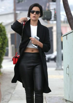 Jamie Alexander in black leather pants out in West Hollywood