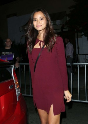 Jamie Chung in Mini Dress at Le Jardin Nightclub in West Hollywood