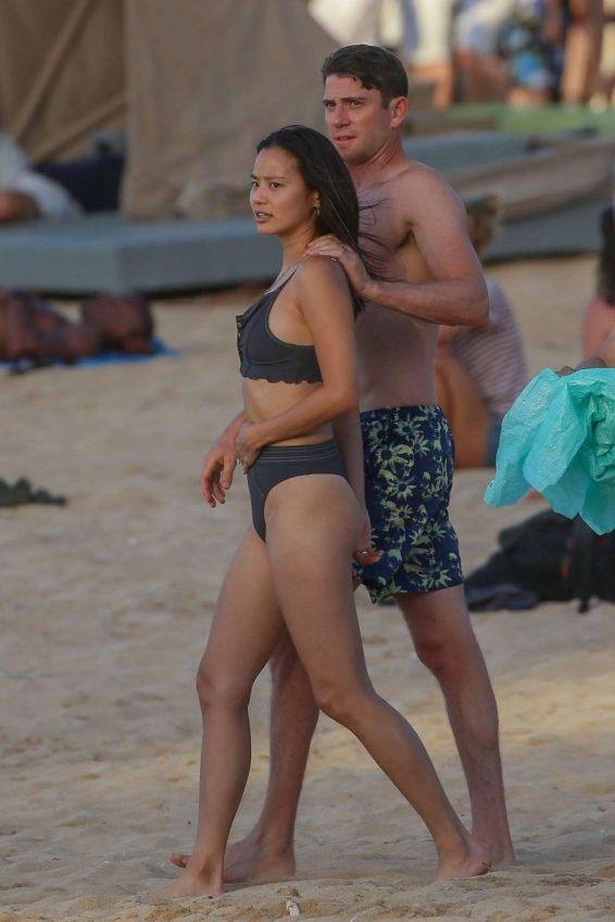 Jamie Chung - In bikini filming in Hawaii
