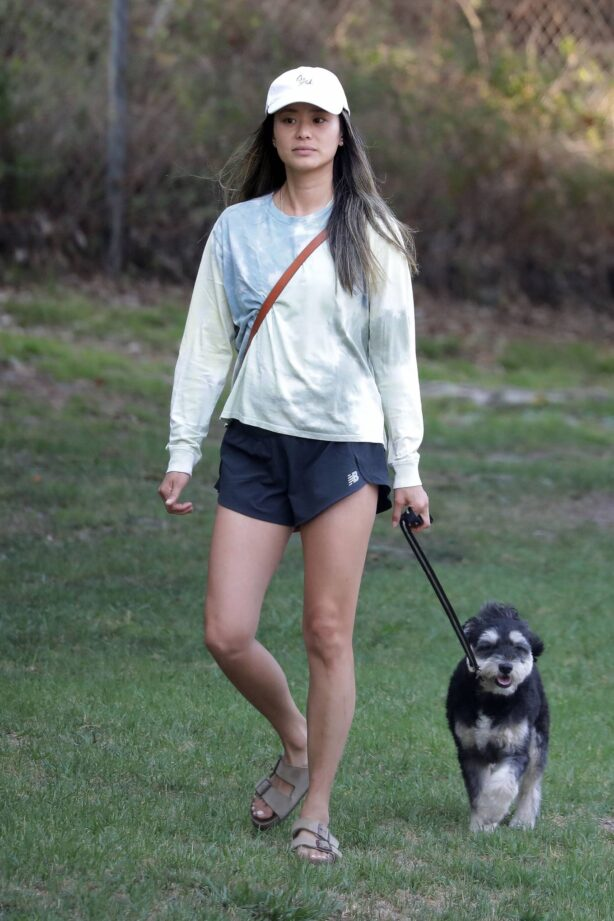 Jamie Chung - on a hike in Los Angeles