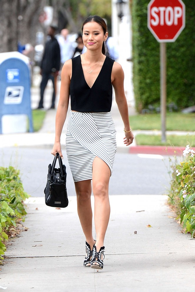 Jamie Chung in Mini Skirt Out in Beverly Hills