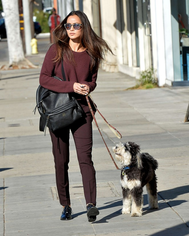 Jamie Chung walking her dog in LA