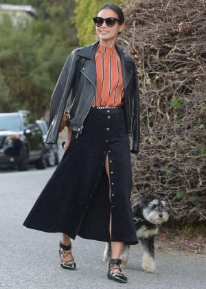 Jamie Chung - Walking Her Dog in LA