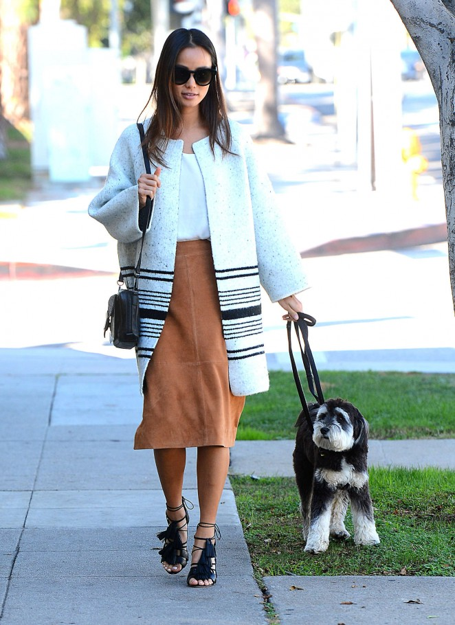 Jamie Chung - Walking her dog in West Hollywood