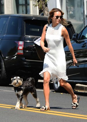 Jamie Chung - Walks her dog in Los Angeles