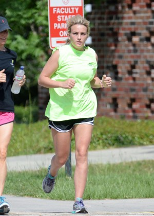 Jamie Lynn Spears in Shorts Jogging in Hammond