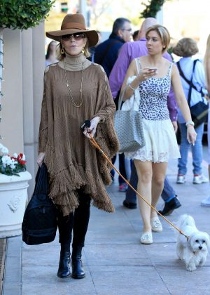 Jane Fonda out with her dog in Beverly Hills
