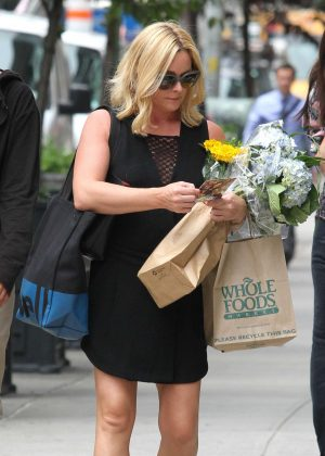 Jane Krakowski in Black Mini Dress Shopping in NYC