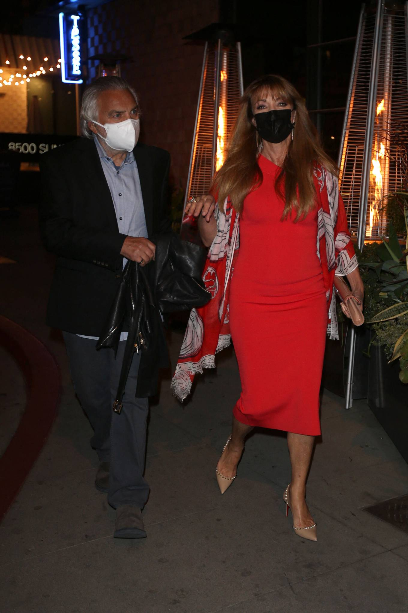Jane Seymour 2021 : Jane Seymour – in red dress with her partner David Green in Los Angeles-06