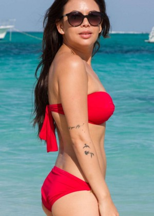 Janel Parrish in Red Bikini on Turks and Caicos Beach