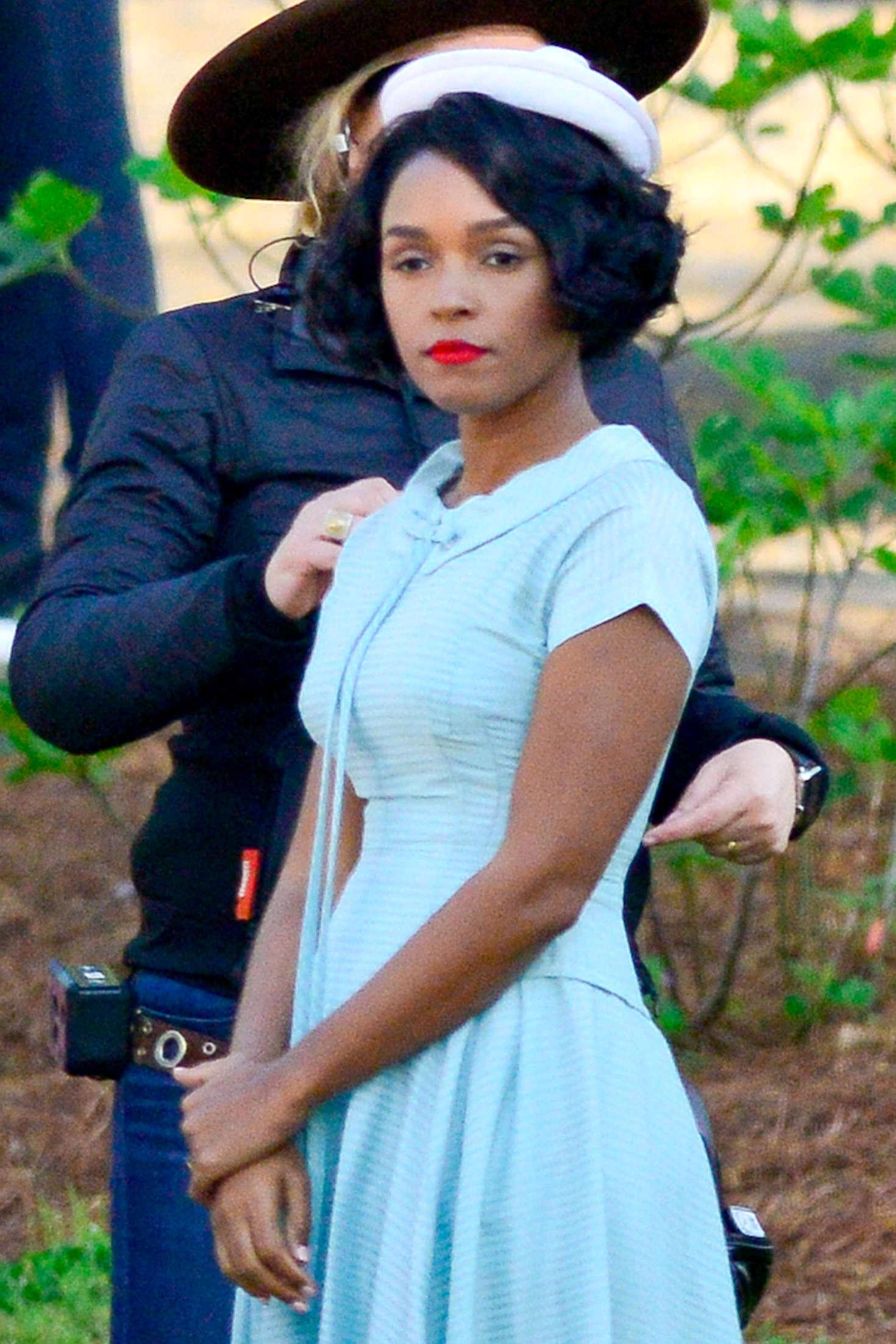 Janelle Monae - Filming on the set of 'Hidden Figures' in Atlanta