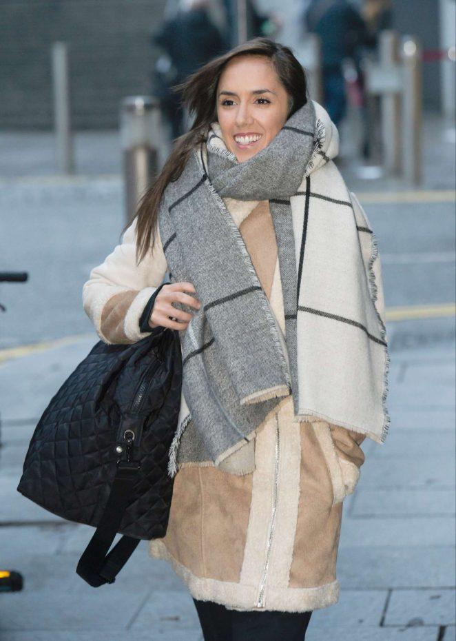 Janette Manrara in Beige Coat out in Birmingham