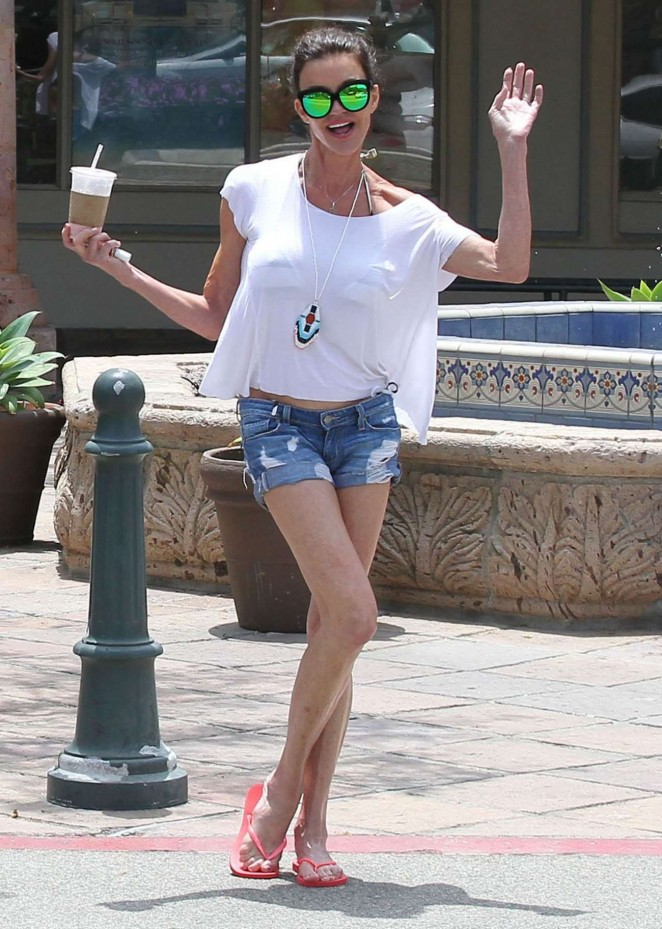 Janice Dickinsonin Jeans Shorts out in Malibu