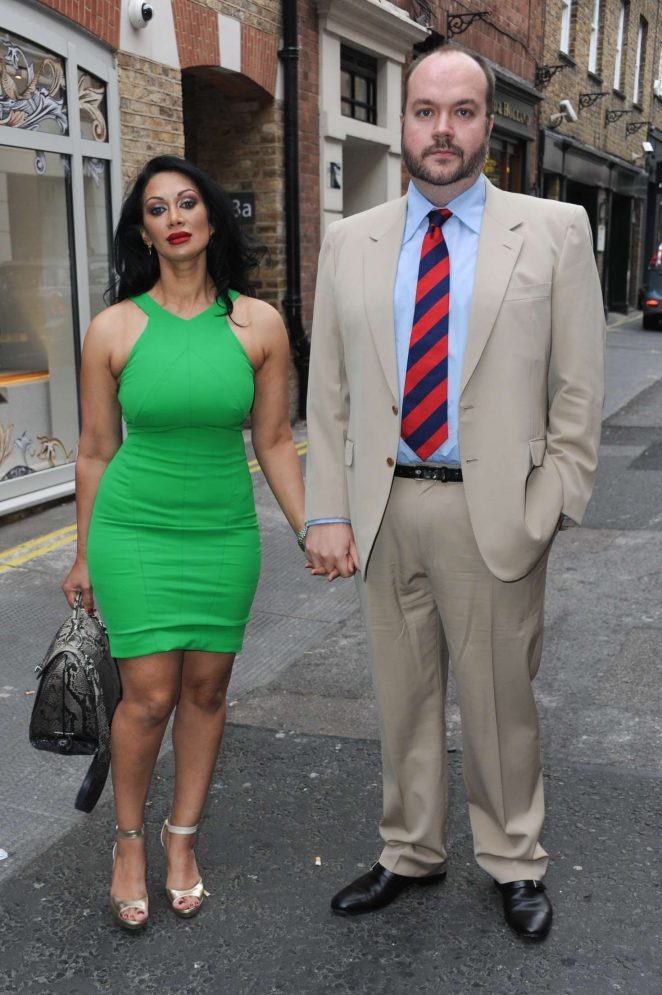 Janine Nerissa and Jonathan Sothcott - Out for Dinner at Bellamys in London