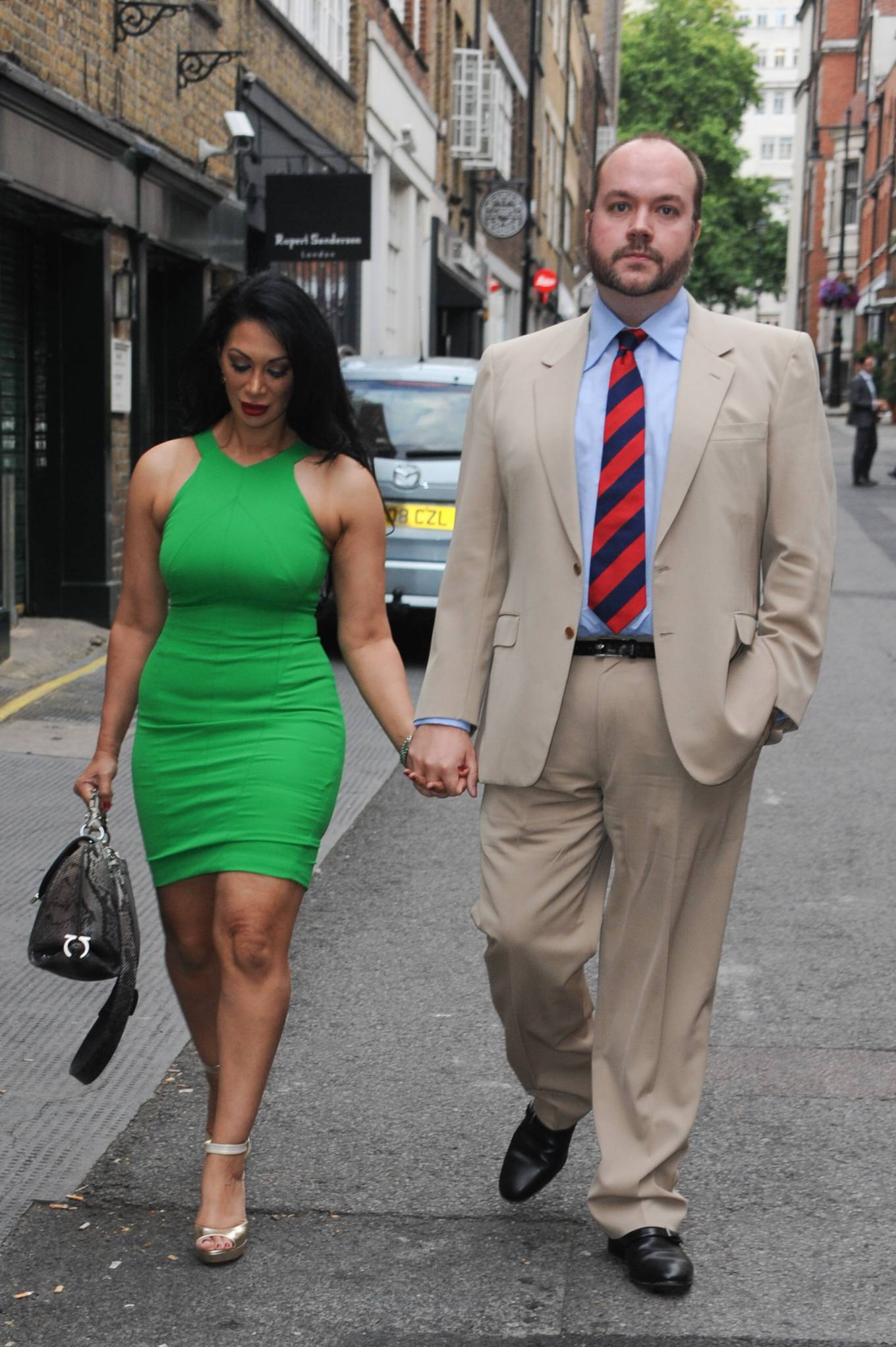Janine Nerissa 2021 : Janine Nerissa – In green dress out for dinner at Bellamys in London-02