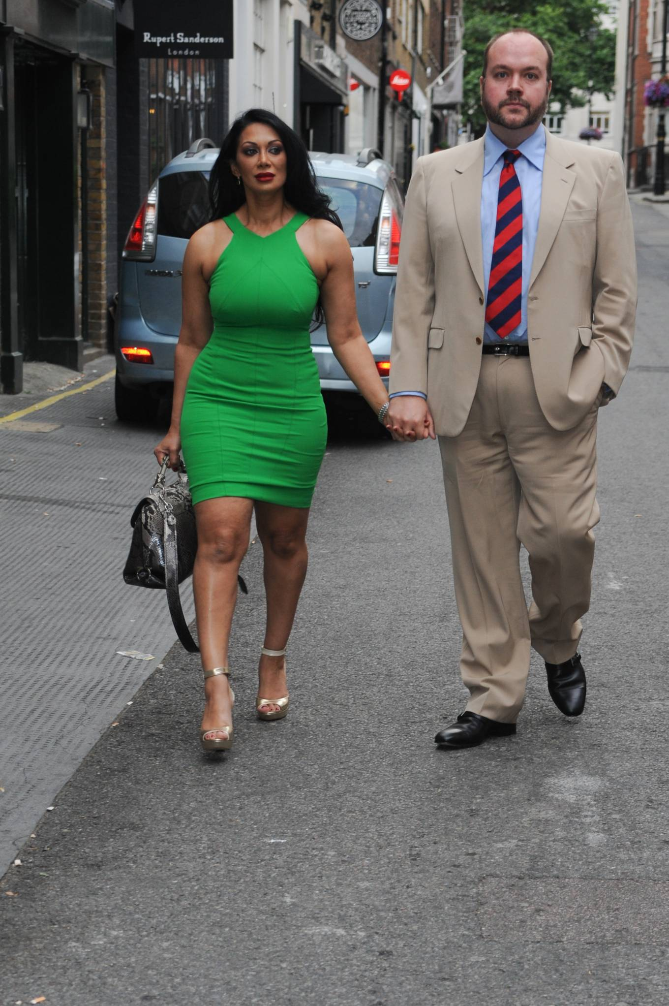 Janine Nerissa 2021 : Janine Nerissa – In green dress out for dinner at Bellamys in London-03