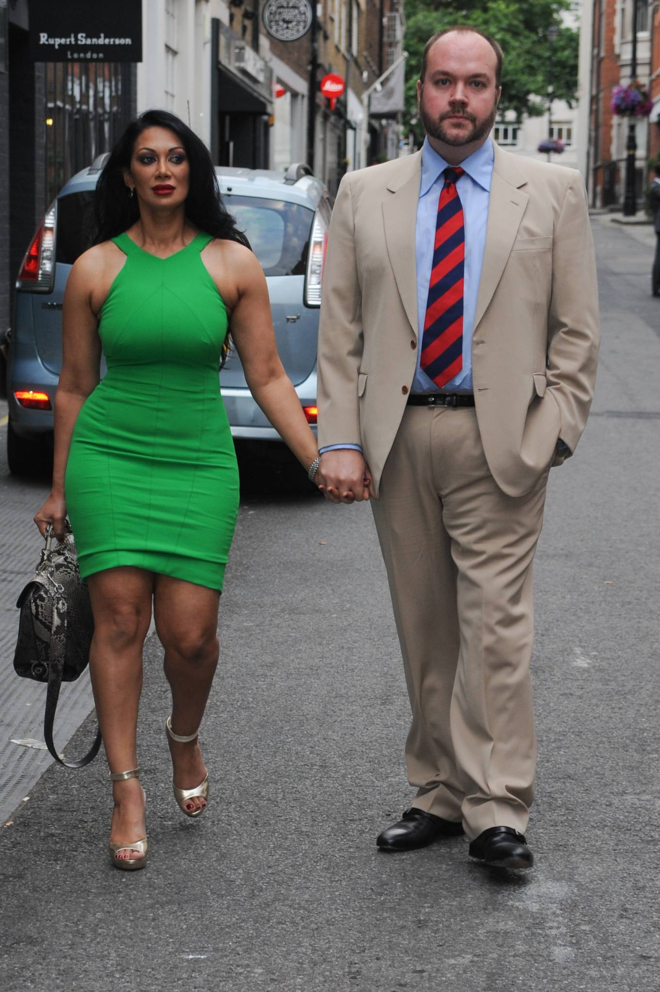 Janine Nerissa 2021 : Janine Nerissa – In green dress out for dinner at Bellamys in London-04