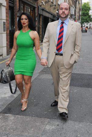 Janine Nerissa - In green dress out for dinner at Bellamys in London