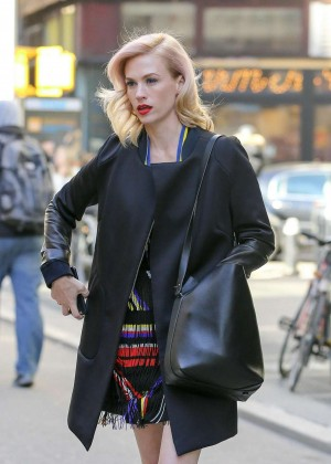 "January Jones Arriving at ""The Tonight Show with Jimmy Fallon"" in NYC"