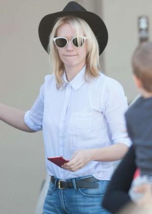 January Jones in Jeans Going to Studio in LA