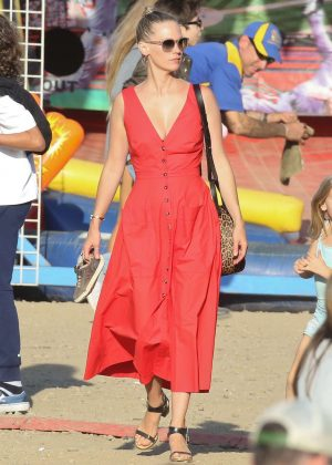January Jones in Red Dress at the Malibu