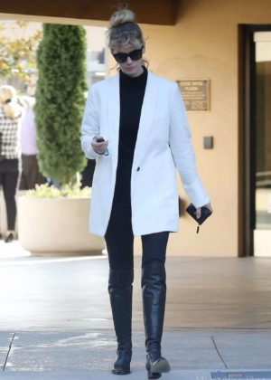 January Jones in White Coat - Out in Los Angeles