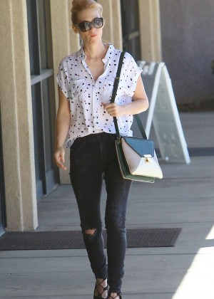 January Jones in Ripped Jeans Out in Santa Monica