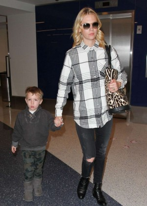 January Jones with her son Xander at LAX Airport in LA