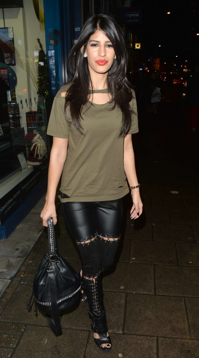Jasmin Walia - In black leather pants night out in London