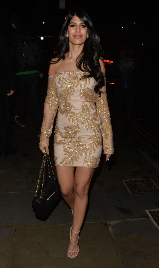 Jasmin Walia in Mini Dress at 34 restaurant in London