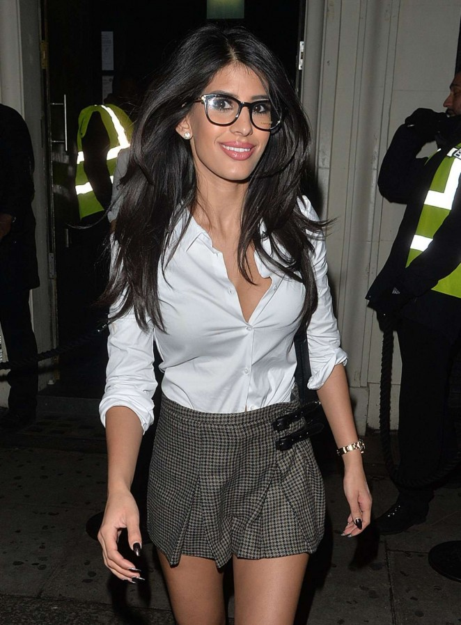 Jasmin Walia in Mini Skirt Night Out in London