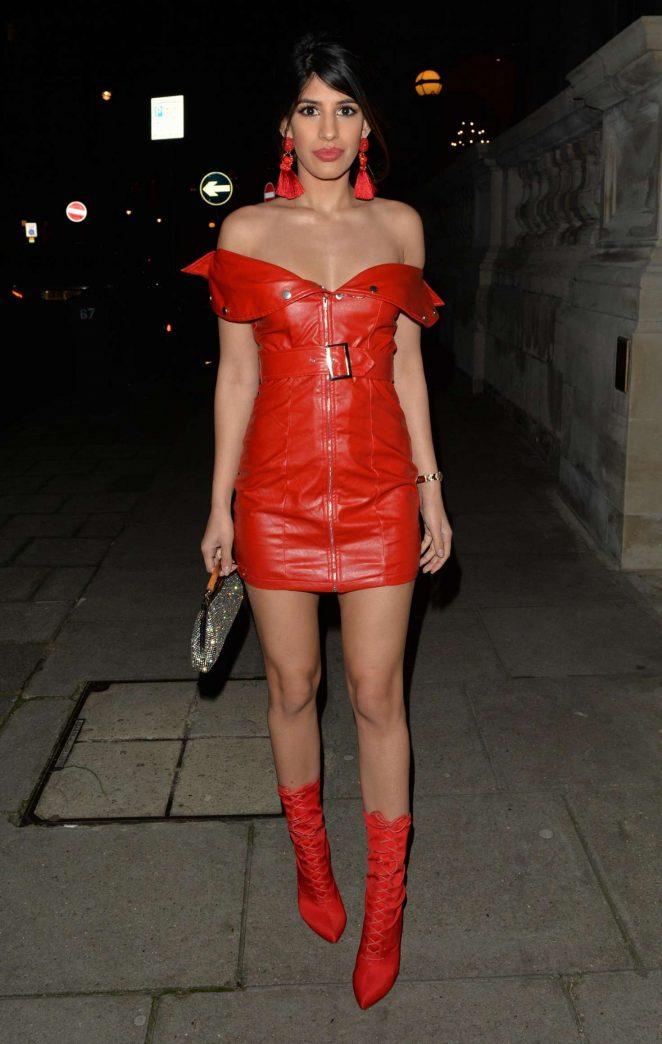 Jasmin Walia in Red Mini Dress - Leaves the Langham Hotel in London