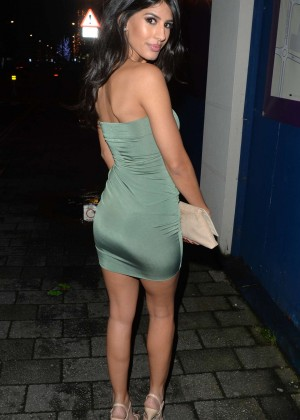 Jasmin Walia - wearing a strapless mini dress on New Year's Eve in Surrey