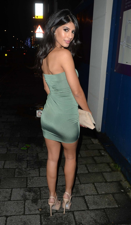 Jasmin Walia – wearing a strapless mini dress on New Year's Eve in Surrey
