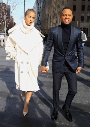Jasmine Sanders and Terrence J - Arrives to the Roc Nation brunch in New York